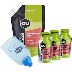 GU Energy Roctane Energy Gel Kombipaket Strawberry Kiwi Vorratsbeutel 480g + Gel 3 x 32g + Flask